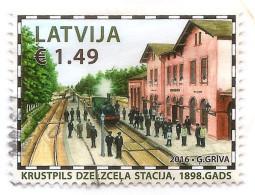 2016 TRAIN Latvia Lettland Lettonie  RAILWAY OLD STATION , HISTORY, KRUSTPILS  STAMP  USED (0) - Trains