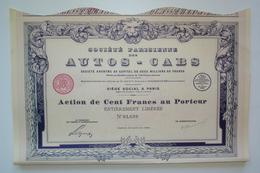 RARE. 1925. SOCIÉTÉ DES AUTOS-CABS Avec Coupons. ART DÉCO. - Automobile