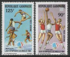 1984 Gabon Olympics Basketball Complete Set  Of 2 MNH - Gabun (1960-...)