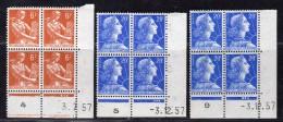 N° 1115/1011B X2 Neuf ** En Bloc De 4 Avec Coin Daté  TB - 1950-1959