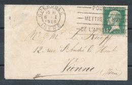 N°171 Pasteur 15c Vert Sur Petite Lettre De Grenoble Pour Vienne (Isère) - 1921-1960: Modern Tijdperk