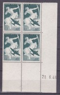 N° 16 P.A. Série Mytologique: Sagitaire Boc De 4 Timbres Coins Datés Du 28.6.46 - Airmail