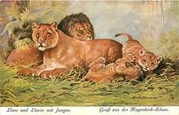 E-16-2679 : LION LIONNE LIONCEAUX. LÖWE UND LÖWIN MIT JUNGEN GRUSS AUS DER HAGENBECK-SCHAU. ILLSUTRATION MAUDE SEVIVENET - Lions
