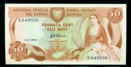 CYPRUS 50 CENT 1-12-1984 P 49 Crisp UNC - Chypre