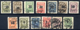 MEMEL (Lithuanian Occ) 1923 (June) Surcharges On Reunification Issues, Set Of 13, Used.  Michel 193-205 - Klaipeda