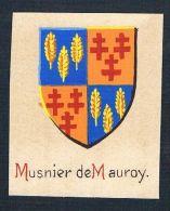 0. Jh. - Musnier De Mauroy Blason Aquarelle Wappen Coat Of Arms Heraldik - Stiche & Gravuren