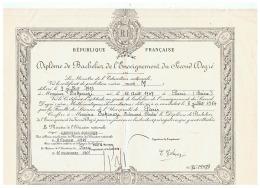 R F DIPLOME DE BACHELIER DE L'ENSEIGNEMENT DU SECOND DEGRE à PARIS (SEINE) 1965 - Diplômes & Bulletins Scolaires