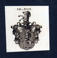 Freiherren Von Bock Original Kupferstich Wappen Coat Of Arms Heraldik - Stiche & Gravuren
