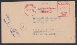 Germany: Cover 1950, Meter Cancel Justice Court Berlin To Police, Message Martial Court War Shooting, WW2 (minor Damage) - [7] République Fédérale