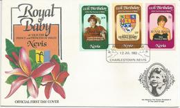Nevis, 12.7.1982, 21° Compleanno Lady Diana Soprastampati Birth Royal Baby, First Day Cover. - America Centrale