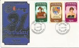 Nevis, 26.2.1982, 21° Compleanno Lady Diana Spencer, First Day Cover. - America Centrale