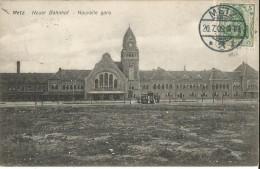 CPA - METZ - NOUVELLE GARE - EDIT. E. MEISTERTZHEIM -METZ- OBLIT. METZ 20.7.1909/TIMBRE GERMANIA 5 - Metz