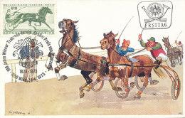 D26783 CARTE MAXIMUM CARD 1973 AUSTRIA - HORSE RACING SULKY CP ORIGINAL - Horses