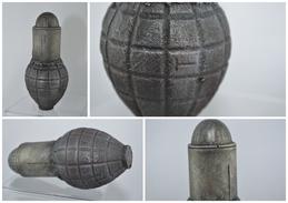 Reproduction De Grenade Défensive Citron Foug Mld 1916 Avec Coiffe - Fonte Brute - Militaria