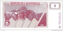 Slovenia - Pick 3s1 - 5 Tolarjev 1990 - Unc - SPECIMEN - VZOREC - Slovénie