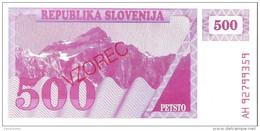 Slovenia - Pick 8s1 - 500 Tolarjev 1990 - Unc - SPECIMEN - VZOREC - Slovénie