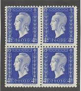 FRANCE - BLOC DE 4 N°YT 695 NEUF** LUXE SANS CHARNIERE - COTE YT : 1.20€ - 1945 - France