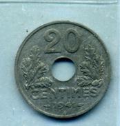1941 20 Centimes ÉTAT FRANÇAIS Zinc - E. 20 Centesimi