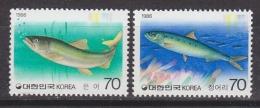 Korea 1986 Fish 2v ** Mnh (33503B) - Corée Du Sud