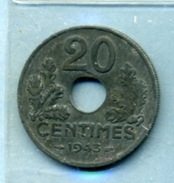 1943 20 Centimes ÉTAT FRANÇAIS Zinc - E. 20 Centesimi
