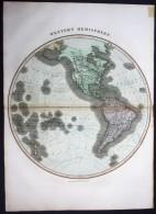 """""""Western Hemisphere"""" - Western Hemisphere North America Map Karte Thomson Kupferstich - Stiche & Gravuren"""