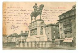 A50 684 Cpa Saluti Da LIVORNO Monumento A Vittorio Emanuele II 1905   2 SCANS !( Bande à  Gauche  , Trace D´adhésif  ) - Livorno