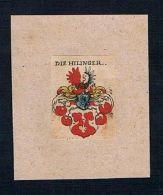 . - Hilinger Wappen Kupferstich Heraldik Coat Of Arms Crest Heraldry - Estampes & Gravures