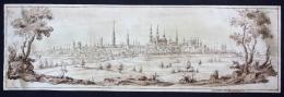 """""""Veduta Di Bruxelles"""" -- Very Rare Original Sepia Drawing From The Second Half Of The 17th Century. - Stiche & Gravuren"""
