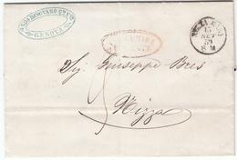 Via Di Mare Ovale Rosso Via Di Mare Da Ponente Da Genova 1859 A Nizza Marittima - Sardegna