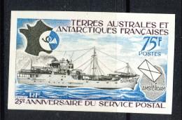 TAAF 1974 N. 54 F. 75 MNH VARIETA' NON DENTELLATO Catalogo € 19 - Non Dentelés, épreuves & Variétés