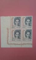 ITALIA REPUBBLICA - QUARTINA DONNA NELL'ARTE VALORE 0,50  MNH - 6. 1946-.. Repubblica