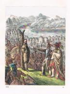Baron Von Wodan Indianer Gefangener Amerika - Lithographie Lithography - Stiche & Gravuren