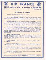 AVIATION  AIR FRANCE  CHRONIQUE  DE LA POSTE  AERIENNE 1938  SERVICE  D´  HIVER  N°23  TBE - Aerodromes