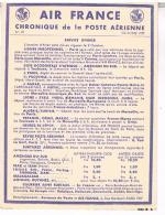 AVIATION  AIR FRANCE  CHRONIQUE  DE LA POSTE  AERIENNE 1938  SERVICE  D´ HIVER N°15 BE - Aerodromes