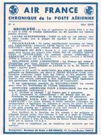 AIR FRANCE  CHRONIQUE  DE LA POSTE  AERIENNE 1948  SERVICE  D ETE     N°4 TBE - Aerodromes