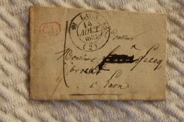 Lettre Pour Laon Cachet à Date Type 12 Simples Fleurons Laon 1831 Correspondance Locale - Postmark Collection (Covers)
