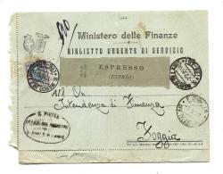 S.P.9,STORIA POSTALE,REGNO,BIGLIETTO DI SERVIZIO, SAN MARCO IN LAVIS NUMERALE L. 1.25 X Foggia - 1900-44 Vittorio Emanuele III