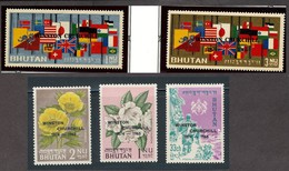 BHUTAN # 42-46 Winston CHURCHILL Ovp´t,  FLOWERS Rhododendron Paeonia Flags  Postal Runner -  Set Of 5 Perf  MNH - Sir Winston Churchill
