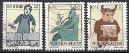 3277 Polonia 1996 Segni Zodiaco Zodiac Acquario - Toro - Cancro Viaggiato Used Polska Poland - Astrologia