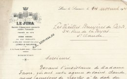"""39 :Facture De La Société D'assurance """" LE JURA """" à  Lons- Le- Saunier 14 Bis Rue Rouget De Lisle En 1940 - Francia"""