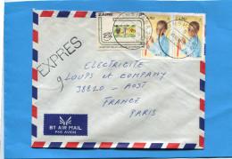 "MARCOPHILIE-lettre-lettre ""EXPRES"" ZAÏRE>Françe-cad 1983 -2-stampsN°1060 Expo 1980+1013 Noël 1981 - Zaïre"