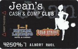 Gold Strike Casino Jean, NV - Slot Card - 3 Logos On Back - Orange Logo Front - EMBOSSED NAME - Casino Cards