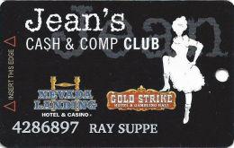 Gold Strike Casino Jean, NV - Slot Card - 3 Logos On Back - Orange Logo Front - PRINTED NAME - Casino Cards