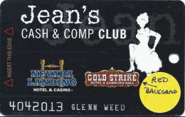 Gold Strike Casino Jean, NV - Slot Card - 3 Logos On Back - RED Logo Front - Casino Cards