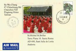 Belle Lettre De Taïwan Adressée ANDORRA, Avec Timbre à Date Arrivée, Deux Photos Recto-verso - 1945-... Republic Of China