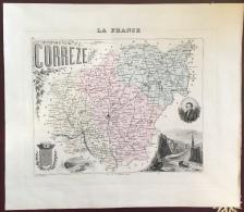 """Gravure 19 ème.  Atlas Migeon  1878 CARTE DU DÉPARTEMENT  """"Corrèze 19"""""""