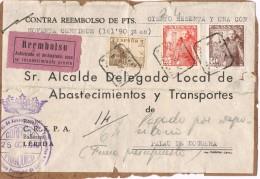 19976. Frontal Paquete Certificado Contra Reembolso LERIDA 1949. Franquicia Abastecimientos - 1931-50 Lettres