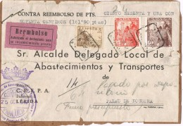 19976. Frontal Paquete Certificado Contra Reembolso LERIDA 1949. Franquicia Abastecimientos - 1931-Aujourd'hui: II. République - ....Juan Carlos I