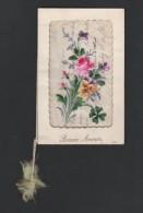 Handgeschilderde Bloemen Op Fijn Papier Fleurs Peintes à La Main Sur Papier Fin  14 X 9 Cm - Nouvel An