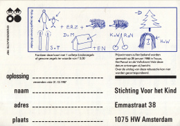 Nederland - Stichting Voor Het Kind - Rebuskaart Kinderzegelactie 1987 - Ongebruikt Exemplaar - Propaganda